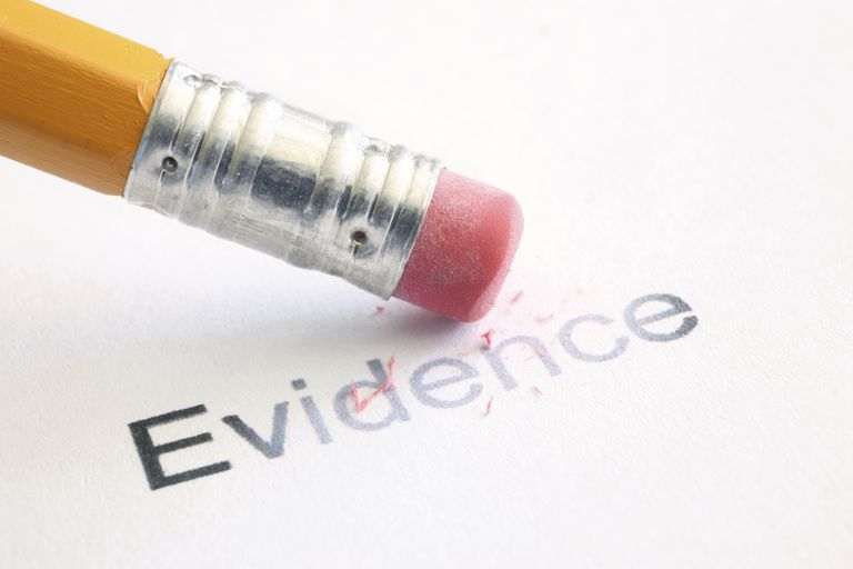 Picture of a pencil erasing the word evidence