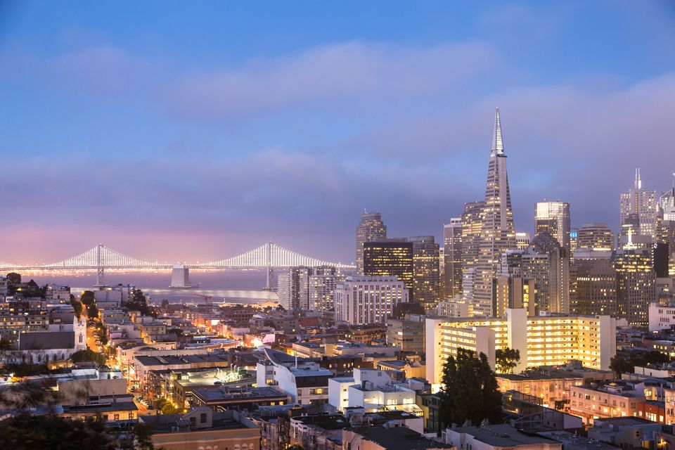 Breathtaking sunset over San Francisco, California, USA