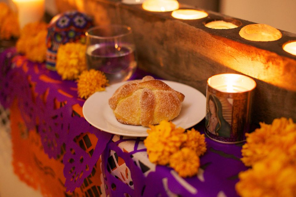 Day Of The Dead bread and decorations