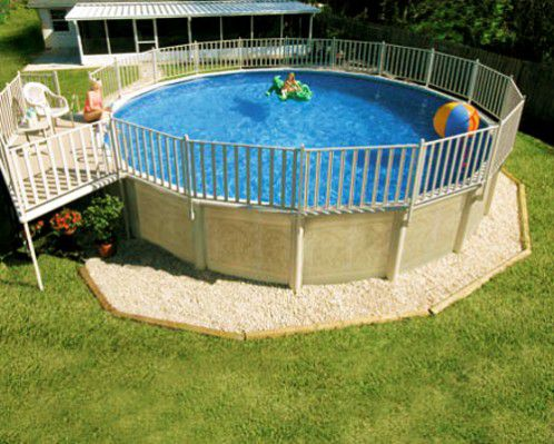 above-ground pool with decorative side walls