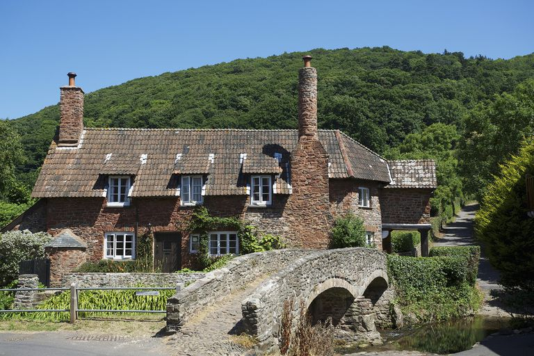 Village on Exmoor National park; Somerset, England