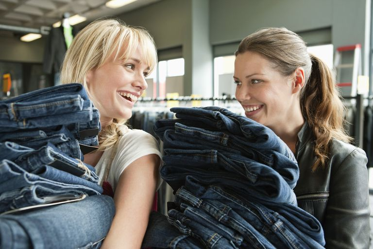 Women shopping for jeans