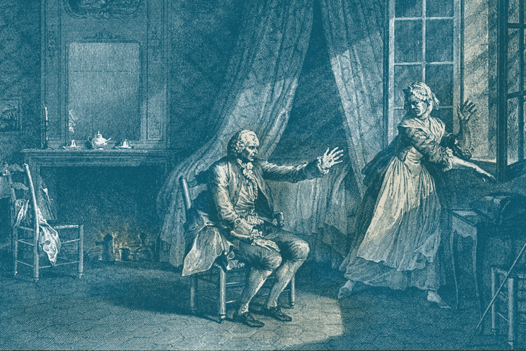 Rousseau and his wife, engraving depicting his last words