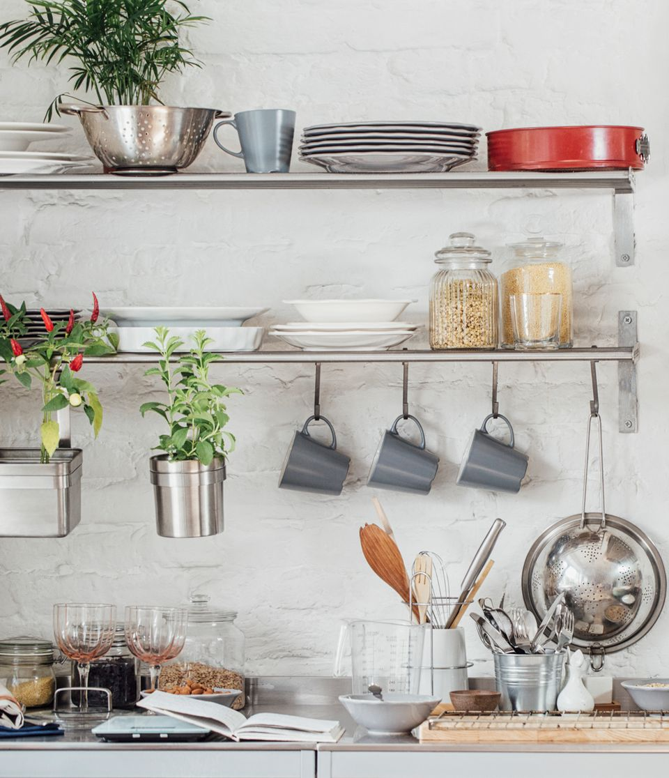 Open kitchen shelving and dishware
