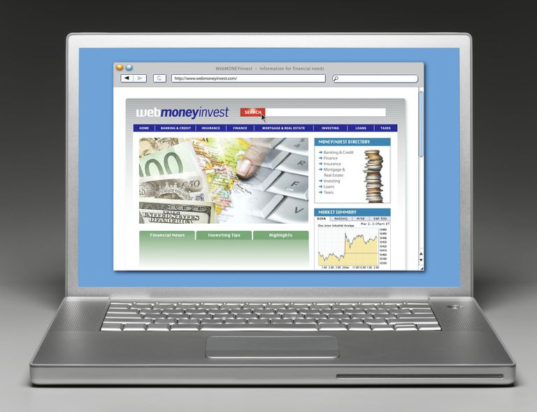 Laptop with Financial Website