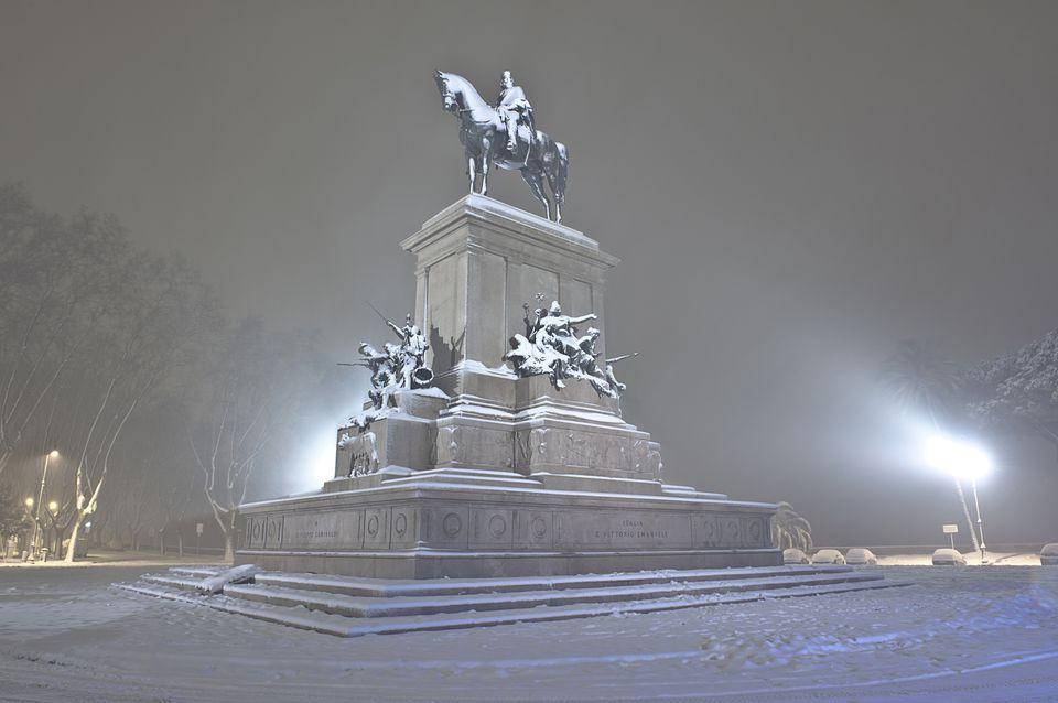 Italy, Rome, Janiculum, Night view with snow of Monument to Giuseppe Garibaldi