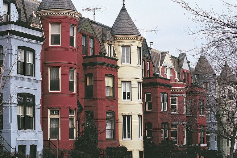 Queen Anne Style Row houses with turrets in Georgetown, Washington DC