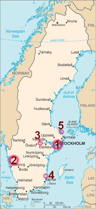 Map of Nude Beaches in Sweden