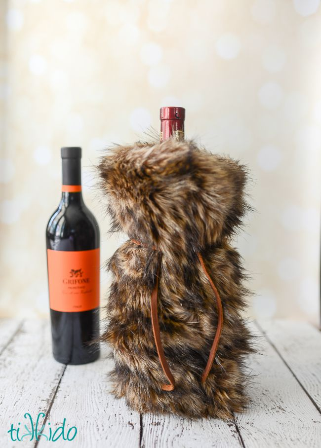 DIY Fur Wine Bag