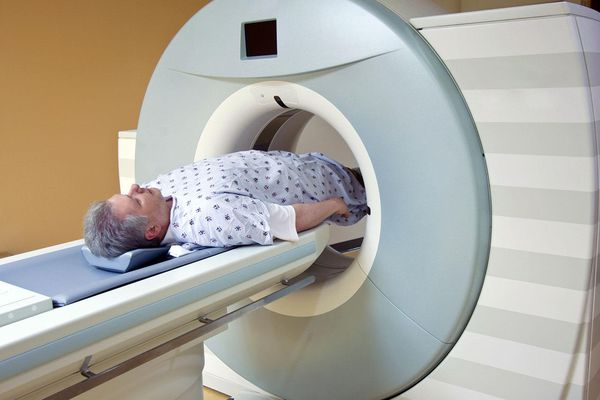 Man Receiving Medical Scan for Prostate Cancer Diagnosis