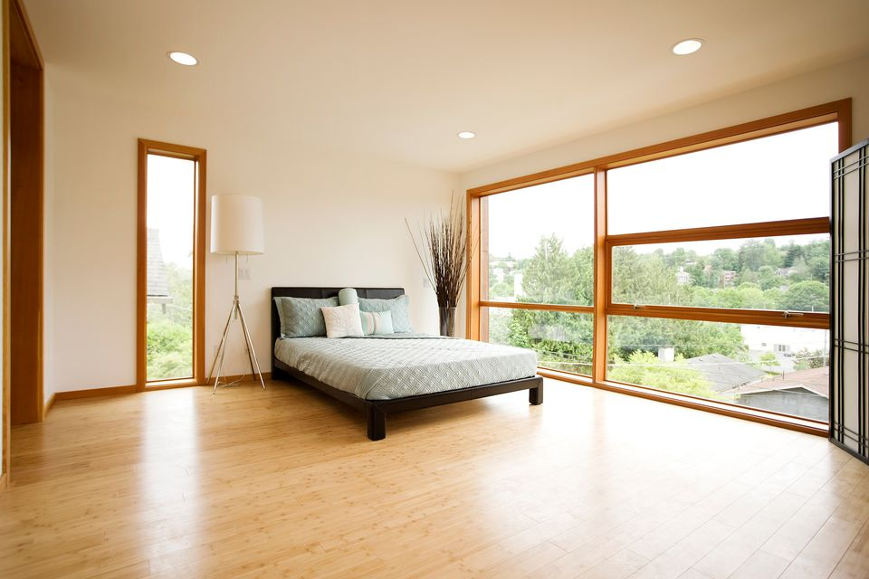 Bedroom with bamboo floor