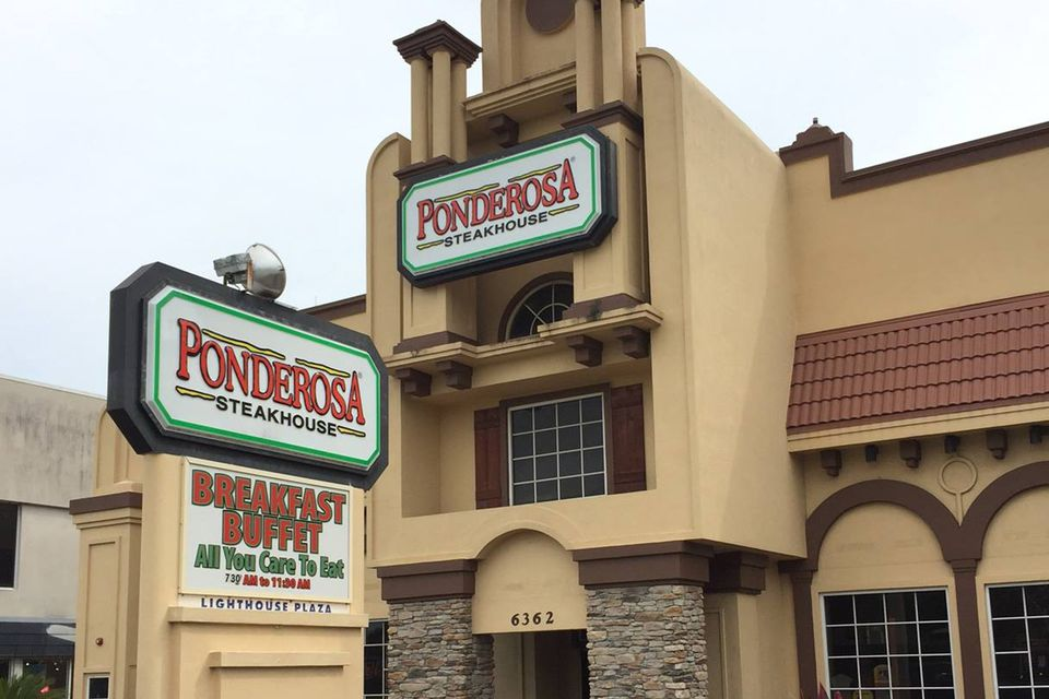 Exterior of a Ponderosa Steakhouse chain restaurant