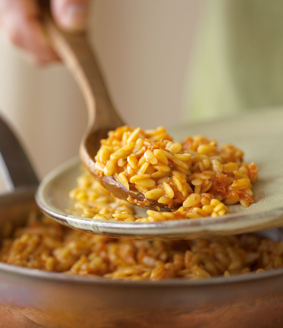 Orzo on Serving Spoon