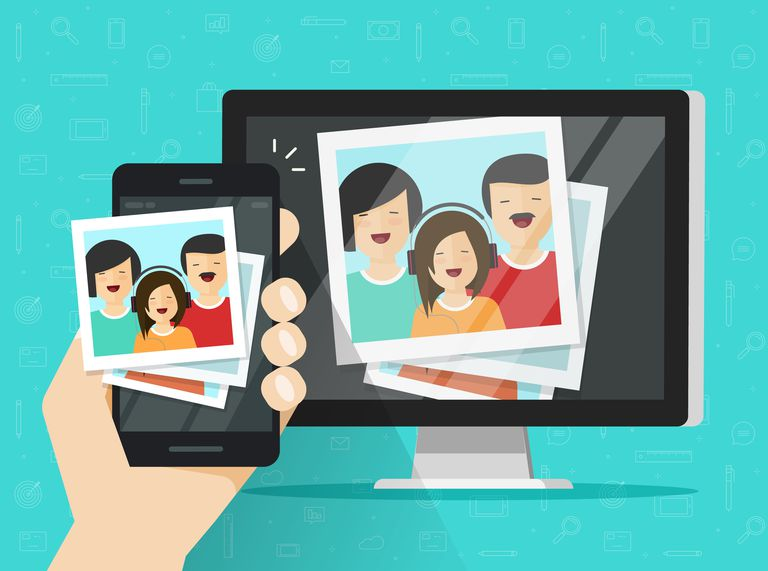 Smartphone streaming photo cards on computer