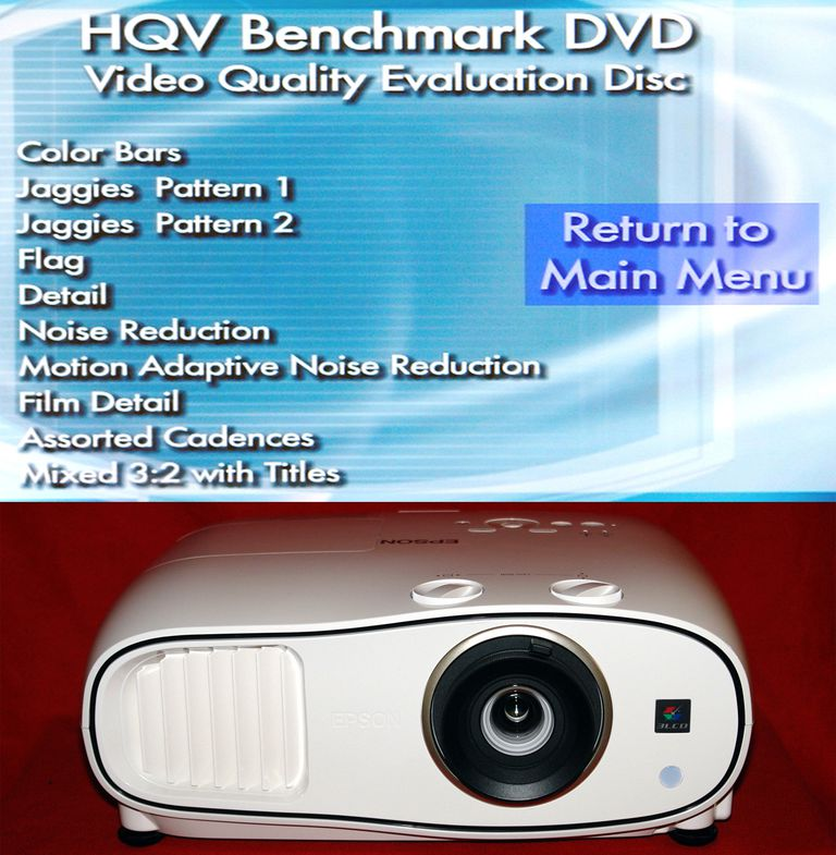 HQV Benchmark DVD Test List With Epson Home Cinema 3500 Video Projector