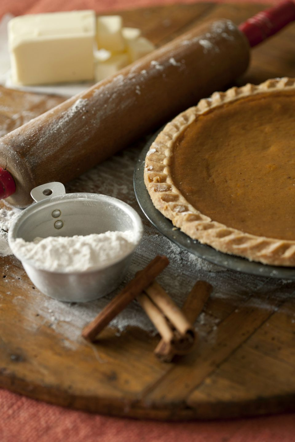 Homemade pumpkin pie and ingredients
