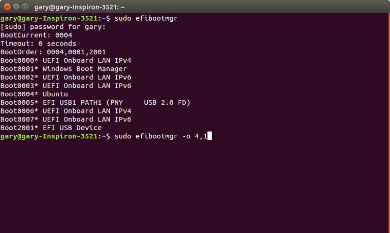 Change UEFI bootorder with efibootmgr