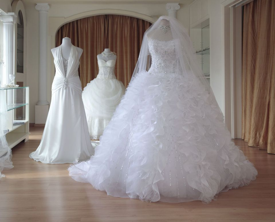 bridal gowns in a shop