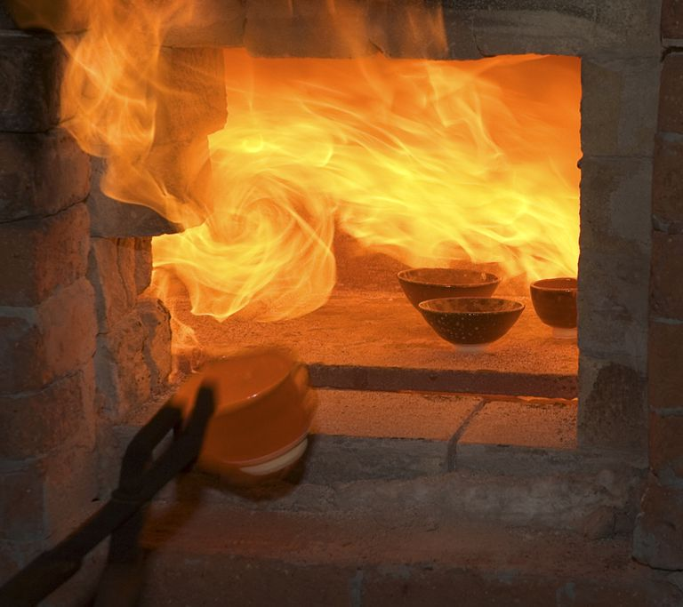 Fire emitting from a kiln, Sweden