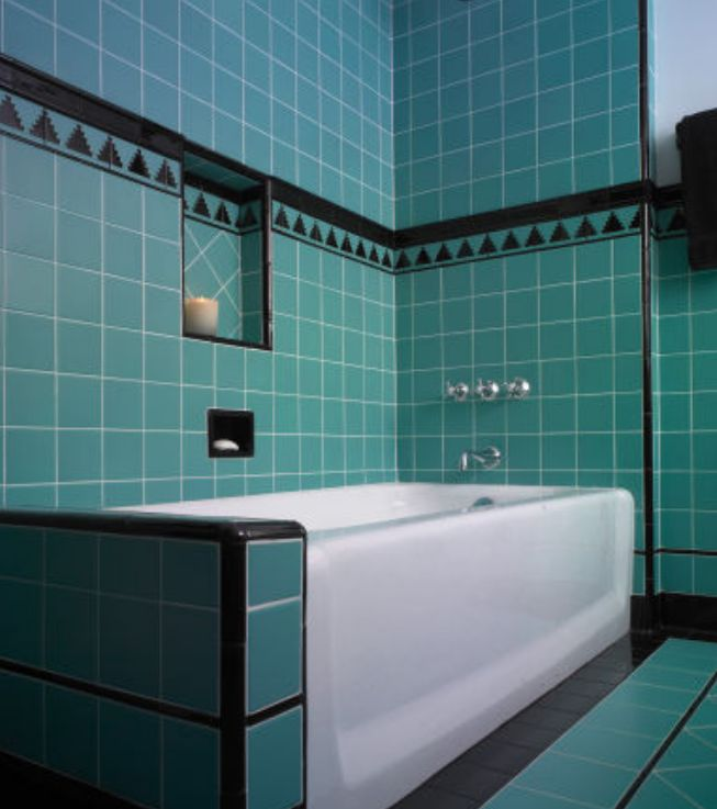 blue green tile for bathroom decoration