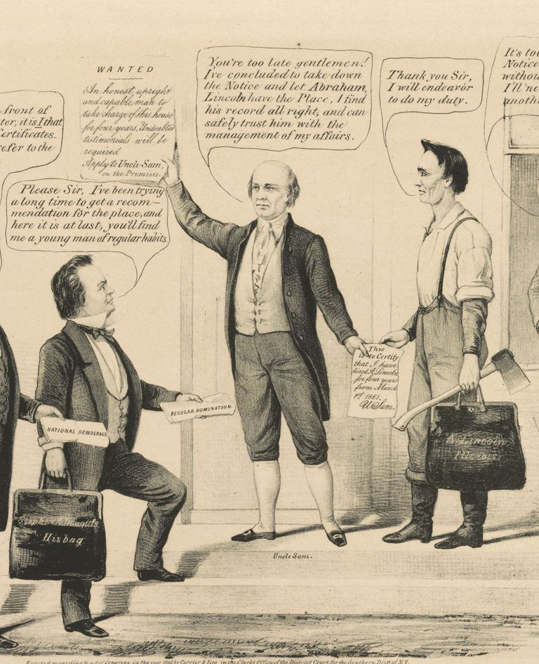 1860 cartoon depicting Uncle Sam in traditional homespun clothing