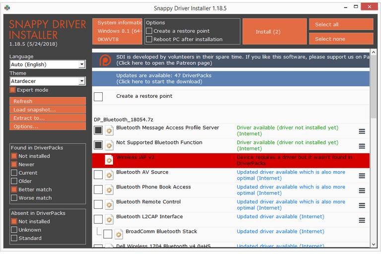 Screenshot of Snappy Driver Installer v1.18.5 in Windows 8