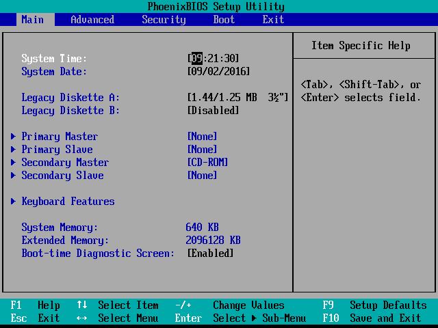 Screenshot of an example of the BIOS Setup Utility Main Menu