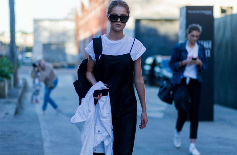Street style fashion photo denim overalls