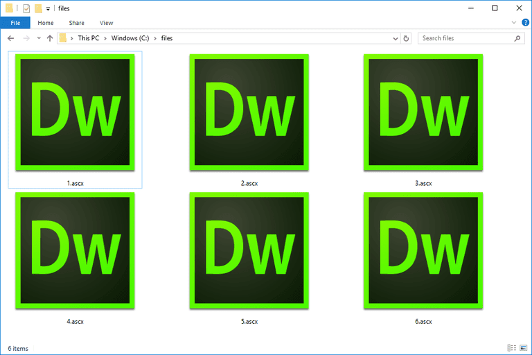 Screenshot of several ASCX files in Windows 10 used with Adobe Dreamweaver