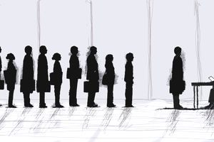 Business people standing in interview queue