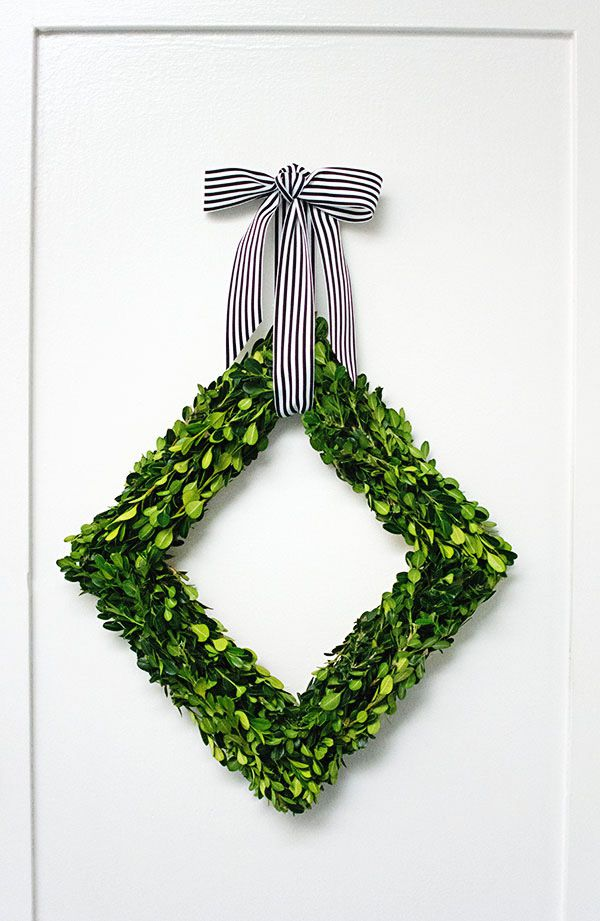 DIY Diamond Boxwood Wreath