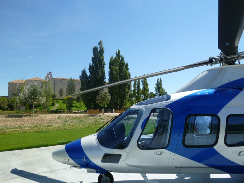 Helicopter at Abadia Retuerta LeDomaine in Spain