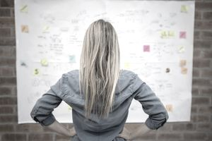 Business woman looking at a wall chart