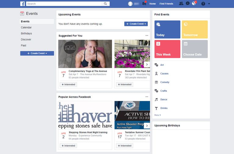Screenshot of Facebook Events page