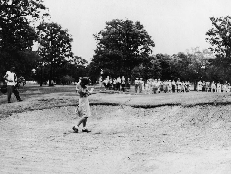 Babe Swings From Sand Trap At 1946 US Women's Amateur