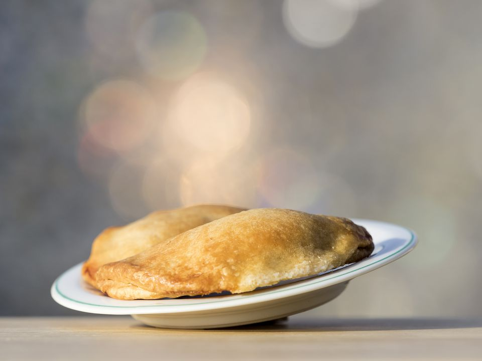 Pies (empanadas) of tomato done to the oven illuminated by the light of the Sun