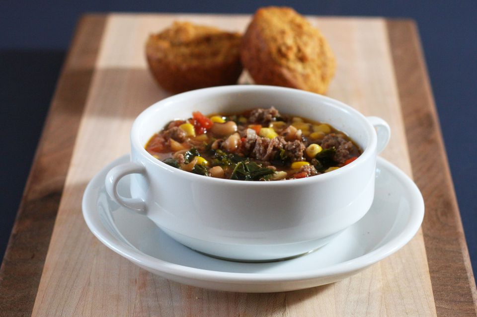 Hamburger Soup With Black Eyed Peas and Kale