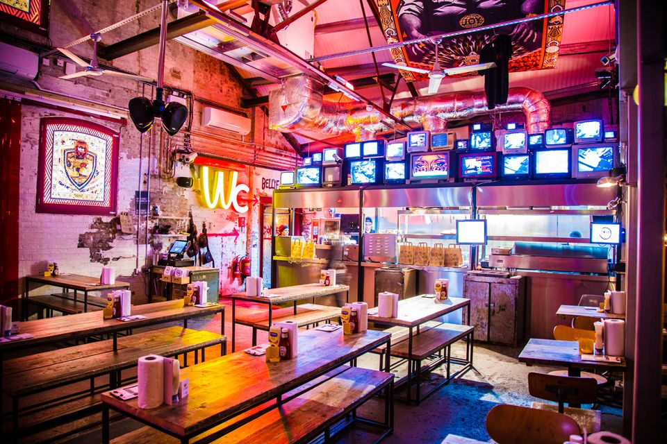 The neon-lit interiors at N1 MEATliquor in Angel.