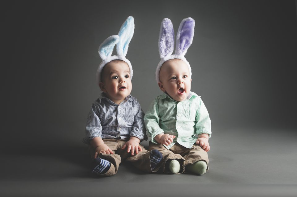 Fraternal Twin Brothers Wear Easter Rabbit Ears for Easter