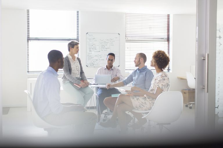 group brainstorming in an office