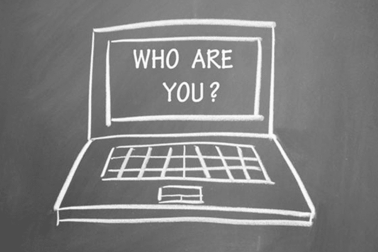 Illustration of a laptop with the 'who are you?' written on the screen