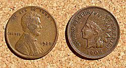 lincoln and indian-head pennies