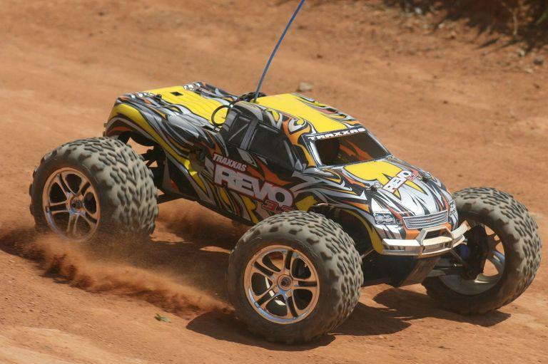 nitro rc car on a track