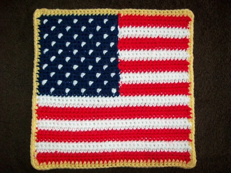 "10"" American Flag Crochet Square Pattern"