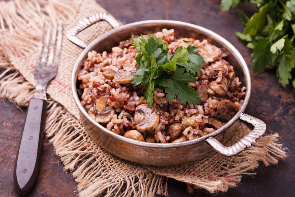 Rice with mushrooms and fresh parsley