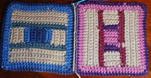 Two Crocheted Squares Joined With Slip Stitch, Viewed From the Wrong Side