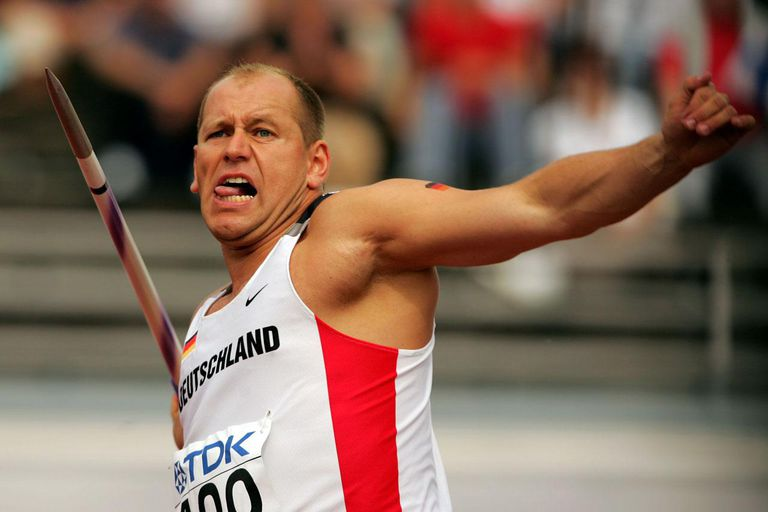 HELSINKI, FINLAND - AUGUST 09: Christian Nicolay of Germany competes during the men's Javelin Throw qualifier at the 10th IAAF World Athletics Championships on August 9, 2005 in Helsinki, Finland.