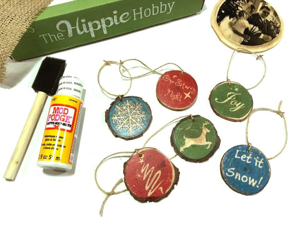 mod podge wooden Christmas ornaments