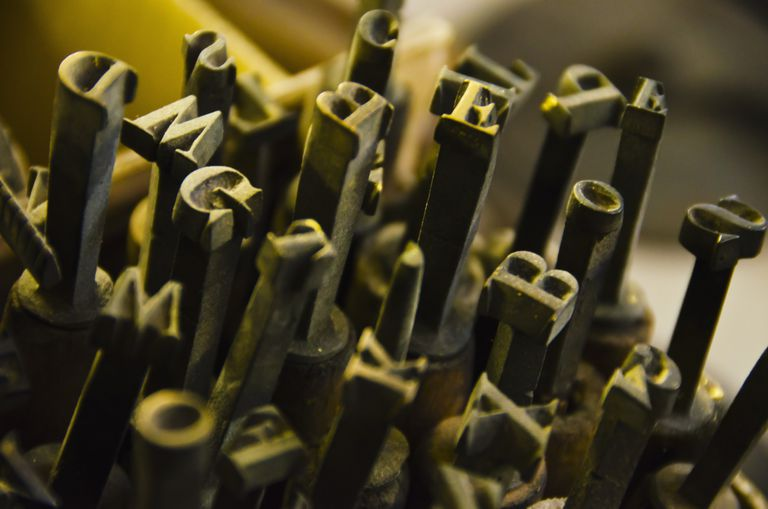 close up of fonts from antique book binding