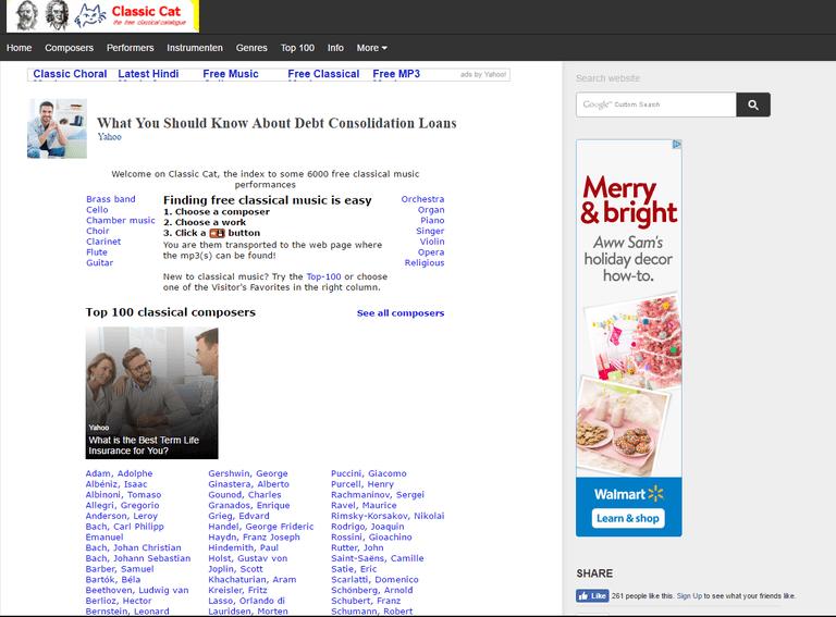 Screenshot of the Classic Cat website